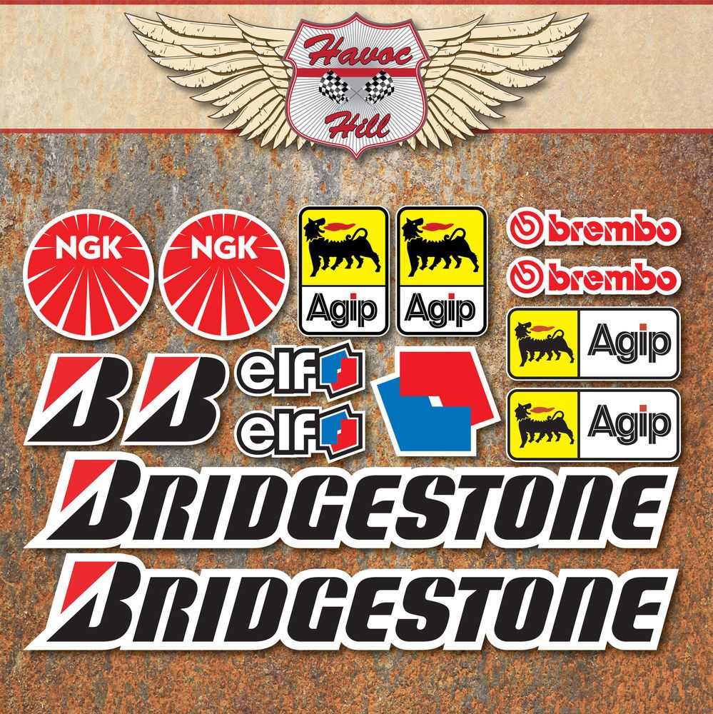 MOTORBIKE RACE STICKER SET X Decals Bridgestone Brembo Ngk Elf - Bridgestone custom stickers motorcycle