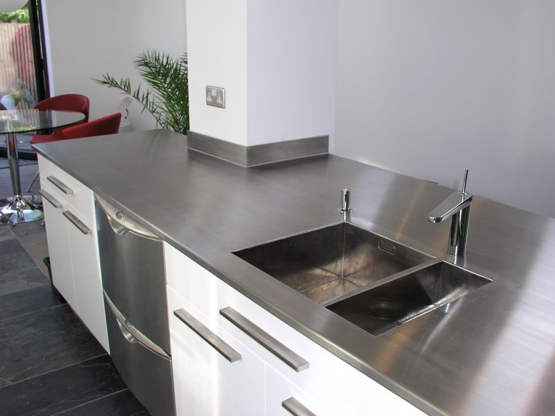 Peninsular Stainless Steel Worktop With Welded Sink And
