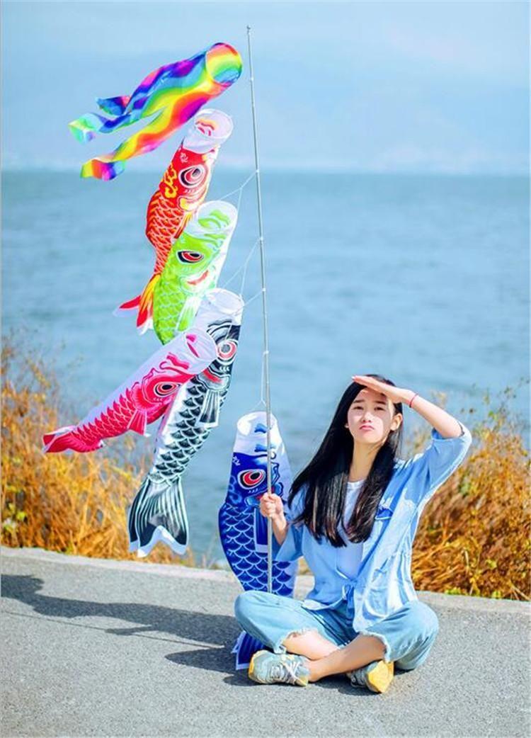150cm Japanese Windsock Carp Flag Koinobori Wind Streamer Green