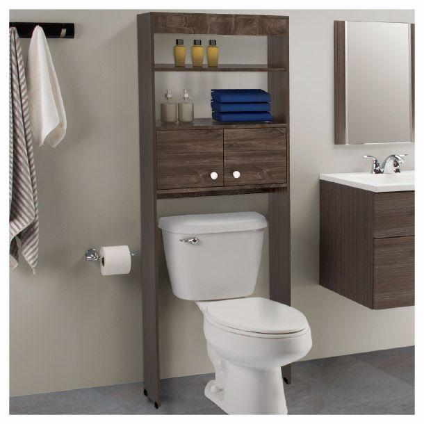 Mueble ahorrador de espacio con repisas organizadoras Home depot banos pequenos