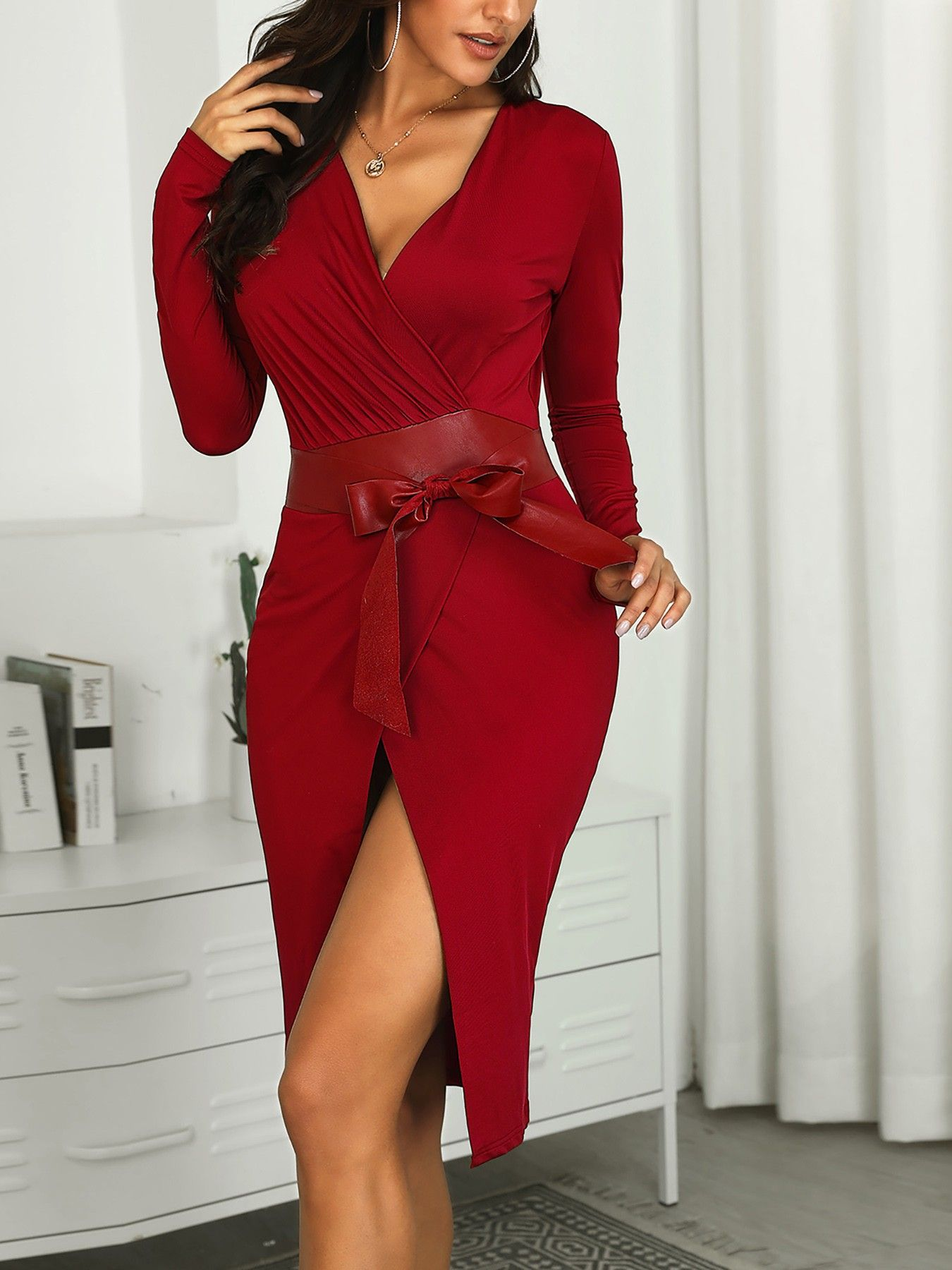 Solid V Neck Scrunched Wrap Dress Wrap Dress Fashion Dresses [ 1800 x 1350 Pixel ]