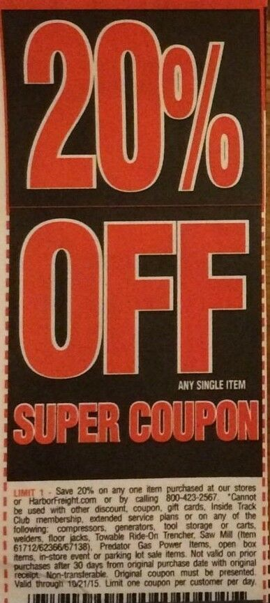 Two(2) Harbor Freight 20 Off! Use at Home Depot/Lowes