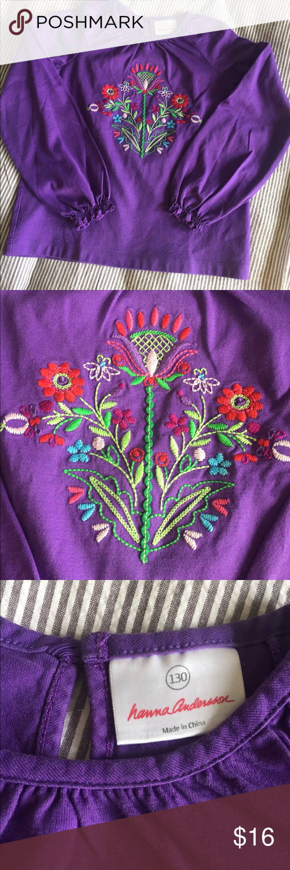Hanna Andersson Appliqué Tee Gorgeous girls Appliqué long sleeve with sweet gathering/ruffle at wrists. Hanna size 130. US about size 8/10. Matching turquoise ruffled skort also posted. EUC. No stains or holes. Hanna Andersson Shirts & Tops Tees - Long Sleeve