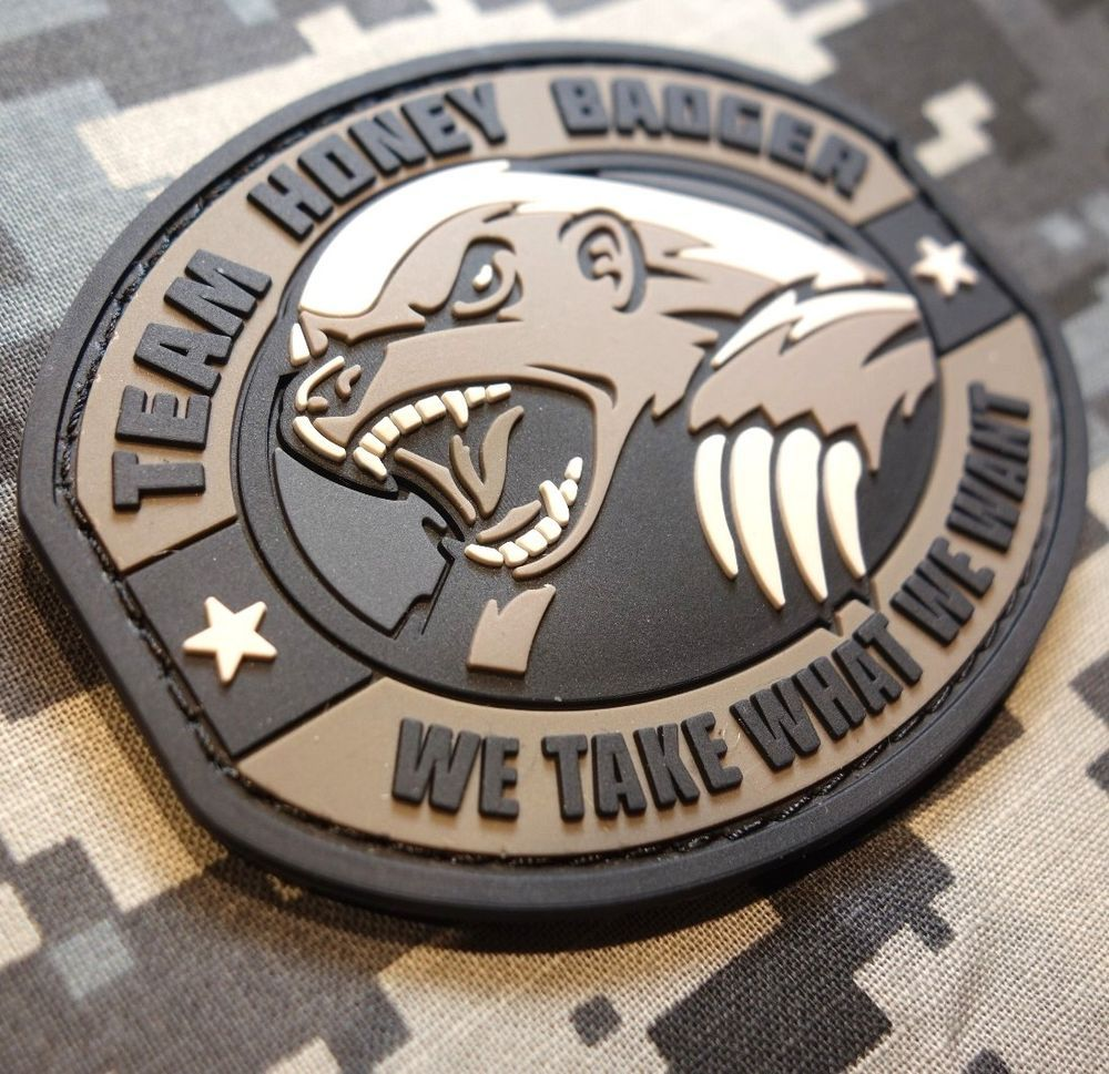 TEAM HONEY BADGER 3D RUBBER PVC US ARMY ISAF MORALE MILSPEC SWAT VELCRO PATCH
