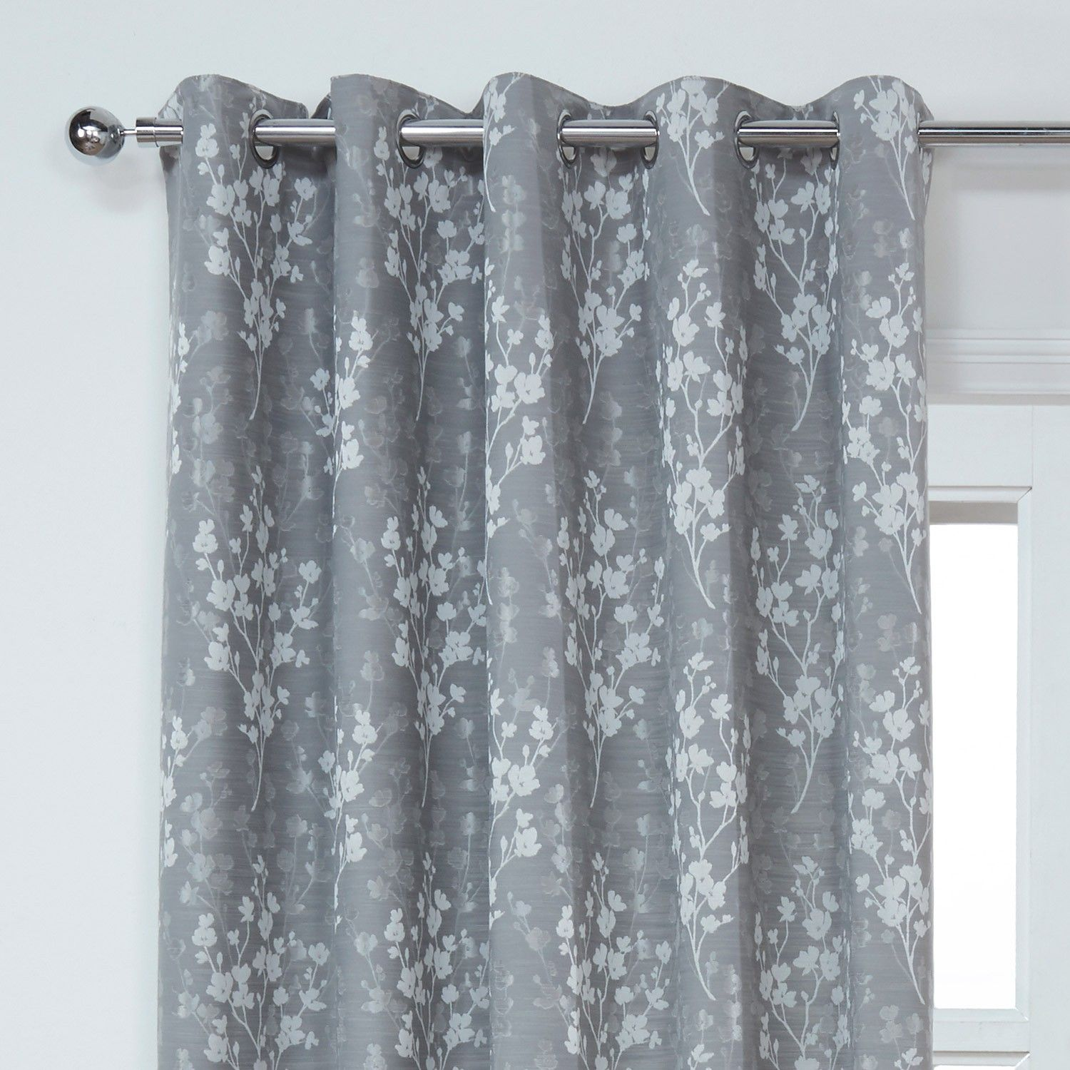 Blossom Silver Grey Floral Lined Eyelet Curtains Pair