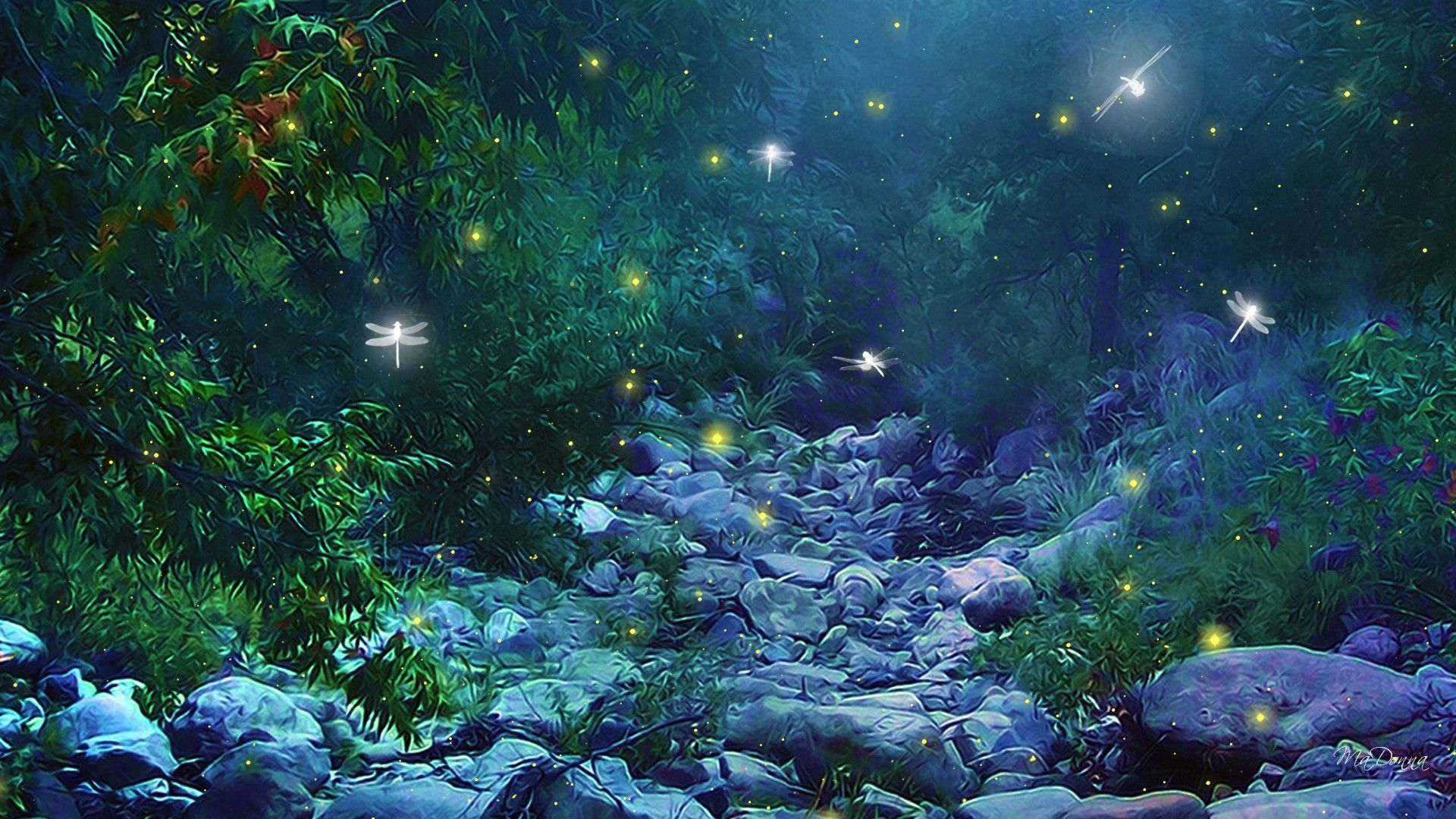 Fireflies Wallpaper Scenery Wallpaper Dragonfly Wallpaper Nature Art