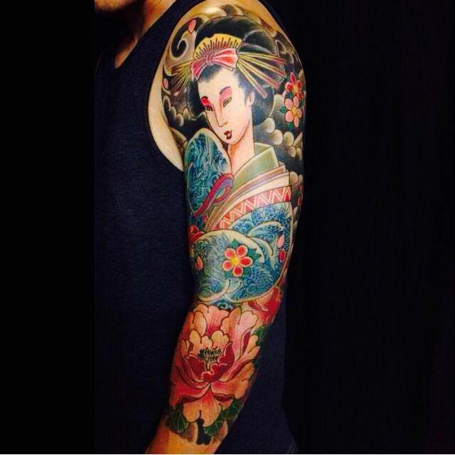 Japanese Woman In Kimono Tattoo Geisha The Koi Sleeve Tattoos Japanese Art Ink Geisha Tattoo