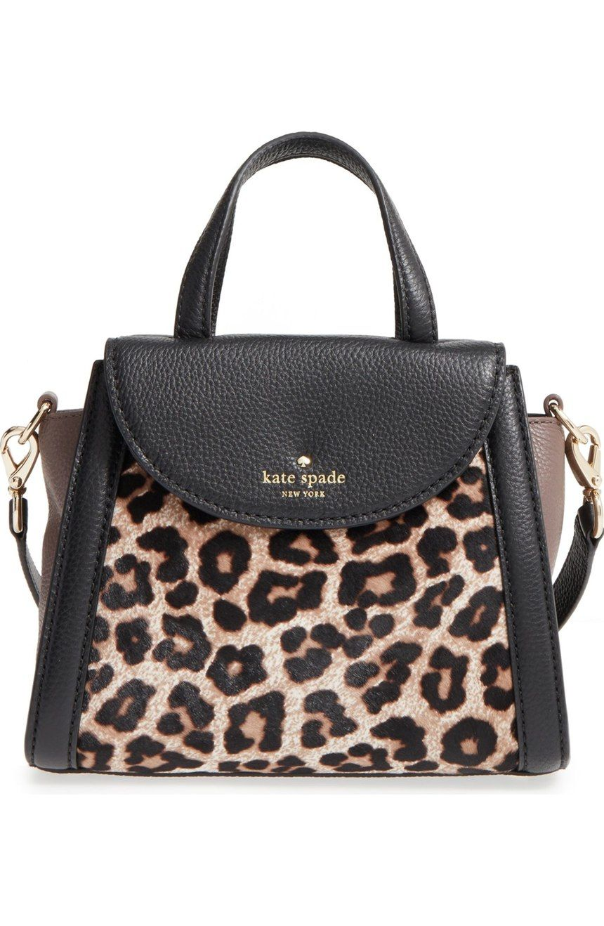 Go a little wild with this compact Kate Spade satchel fashioned from supple  pebbled leather accented with leopard-print genuine calf hair. d6911b945b