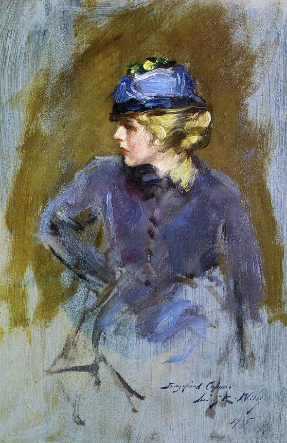 Woman In Blue  Irving R. Wiles