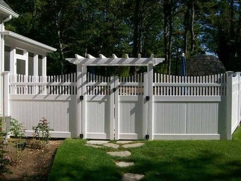 45 Admirable Front Yard Fence Remodel Ideas Privacy Fence Designs Fence Design White Vinyl Fence