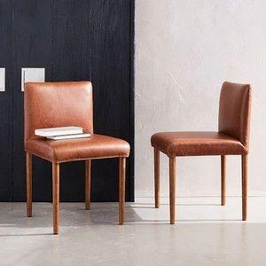 West Elm Ellis Faux Leather Dining Chair Cognac Faux Leather