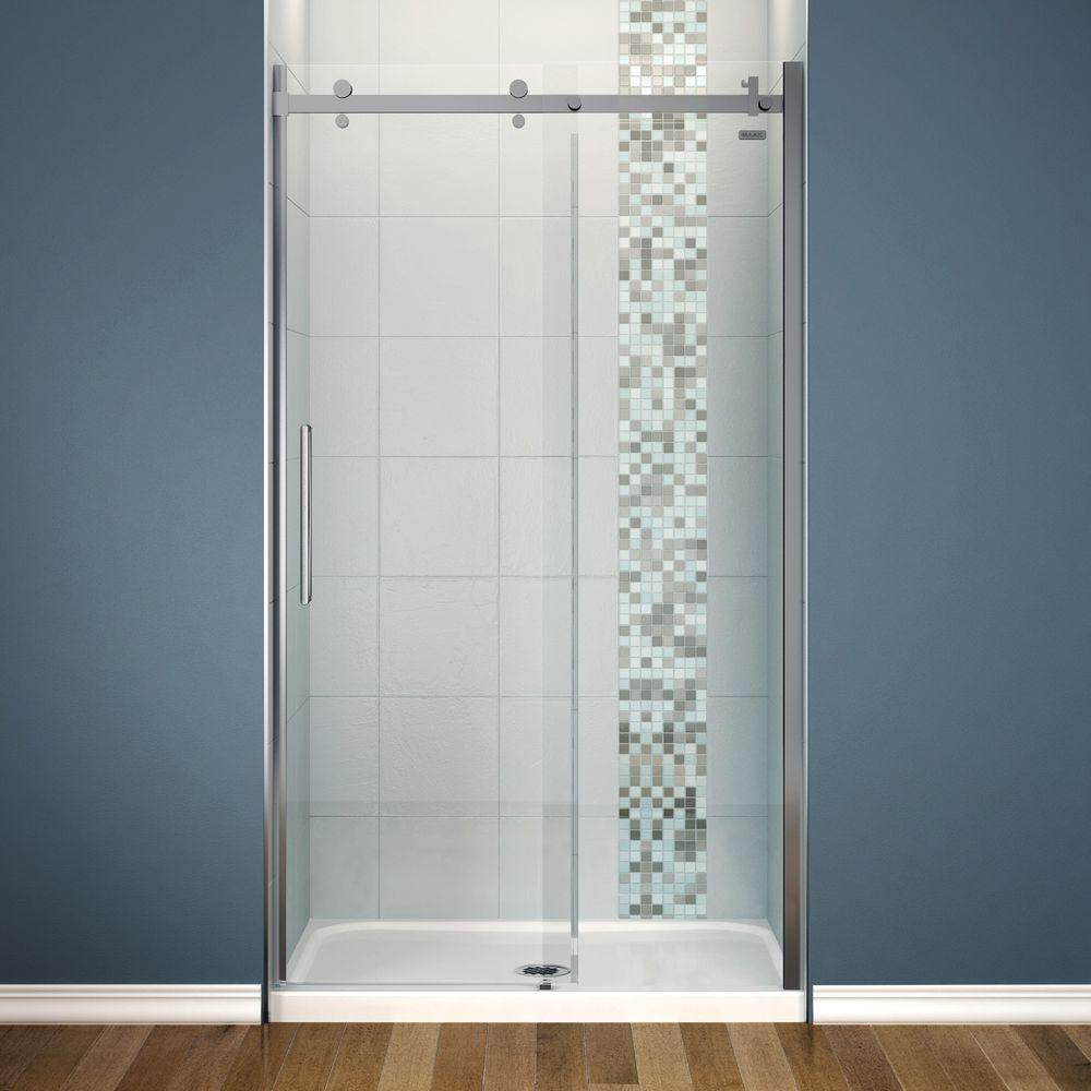 MAAX Halo 36 in. x 48 in. x 81-3/4 in. Frameless Sliding Shower Kit ...