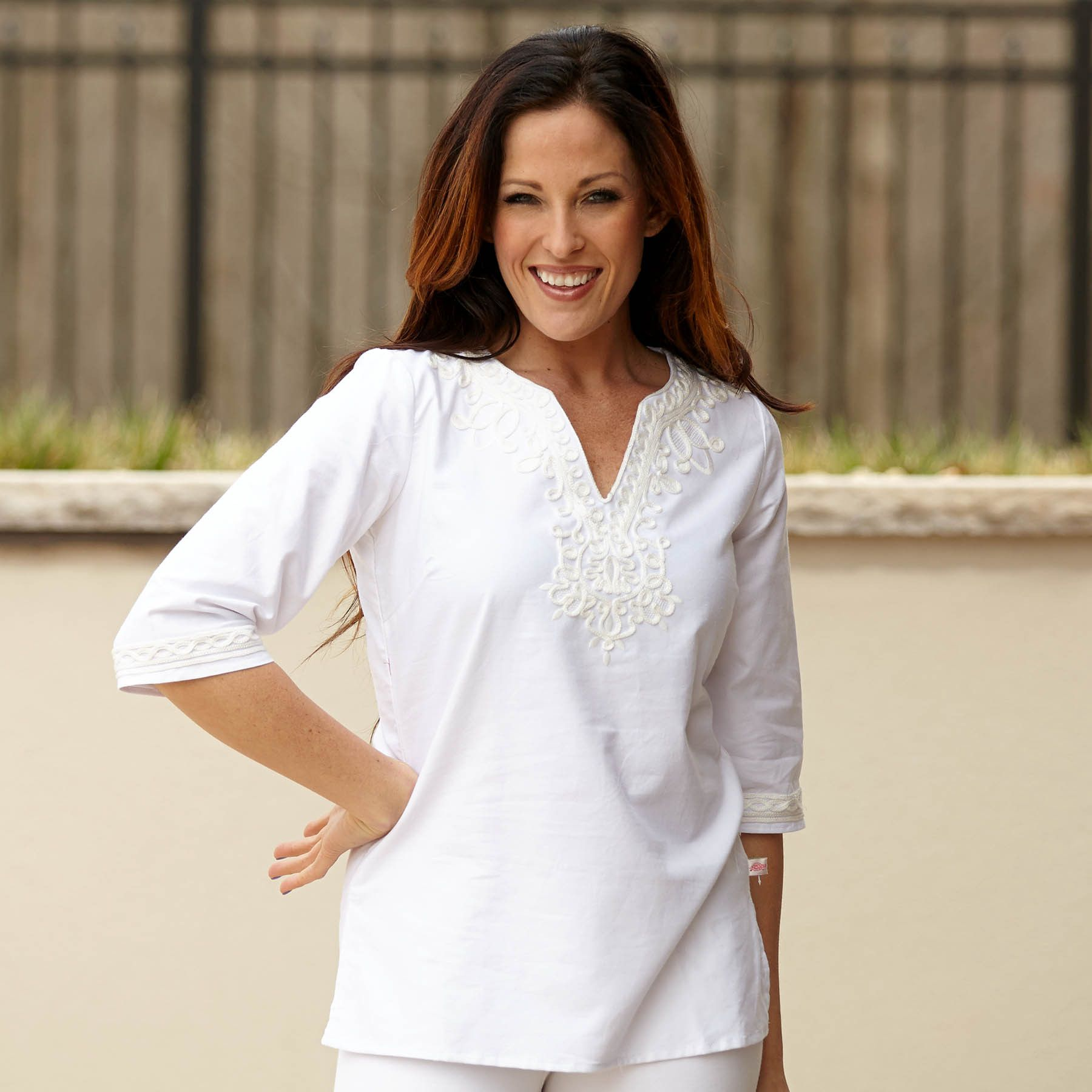 Ladies White Embroidery Tunic