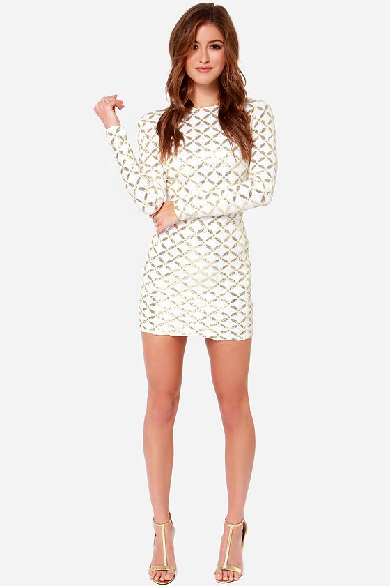 9e8ab01f If you're ready to be the most striking girl in the room this year, then do  it! Get yourself the Dress the Population Lola Ivory and Gold Sequin Dress  and ...
