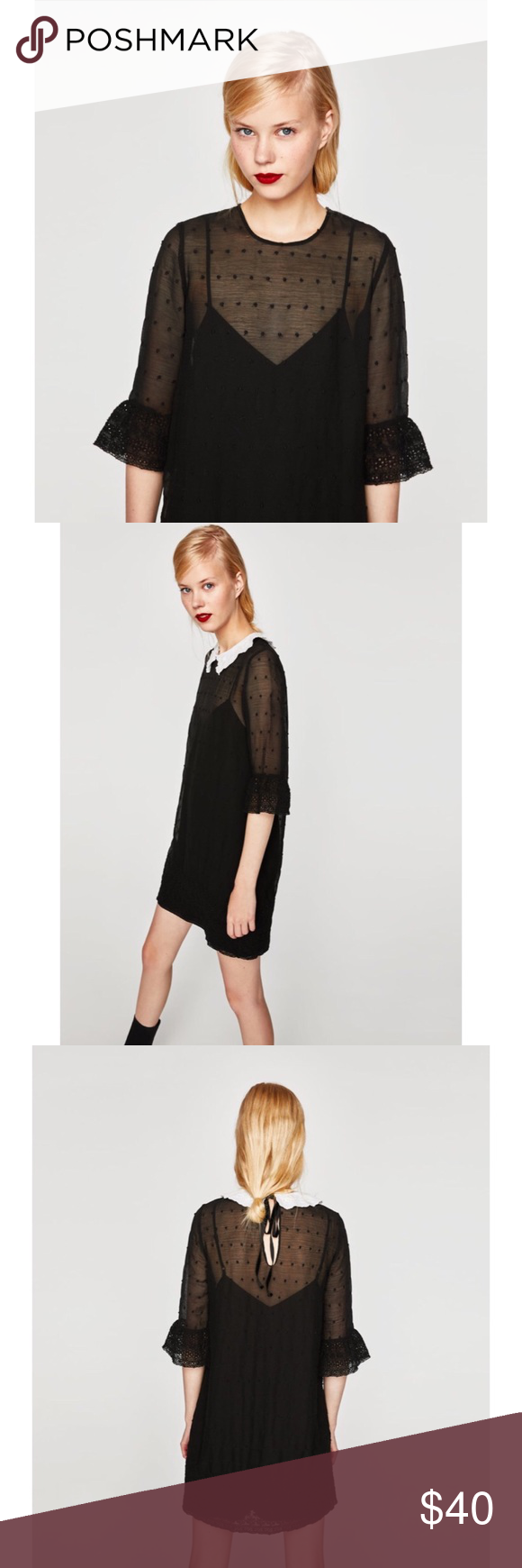 168fb63f Zara Embroidered Dress NWT. Zara Embroidered Black Dress with Contrasting  Collar. Features Shirt Collar