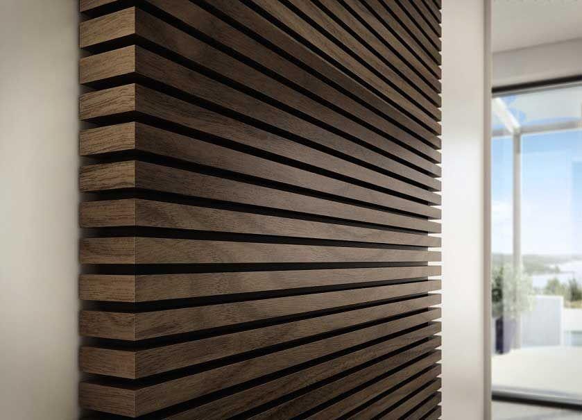 Add a textured wall with wood slats