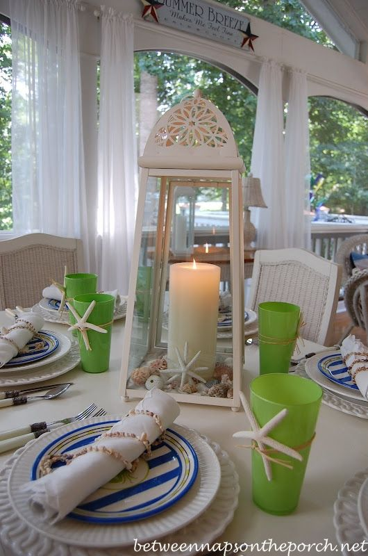 Beach Nautical Themed Table Settings Summer Table Settings