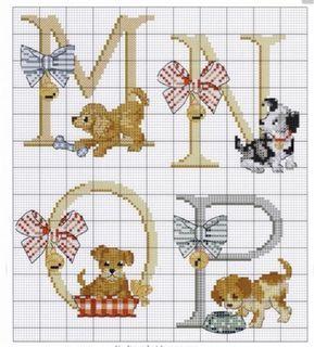 d8e17e87f Letras en punto de cruz decoradas con animales. Hilos DMC, tela cuadrille,  aguja para bordar en punto de cruz. De la web.