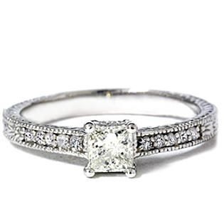 Pompeii- -.50 cttw Princess Cut Antique Vintage Diamond Engagement Ring 14K White Gold