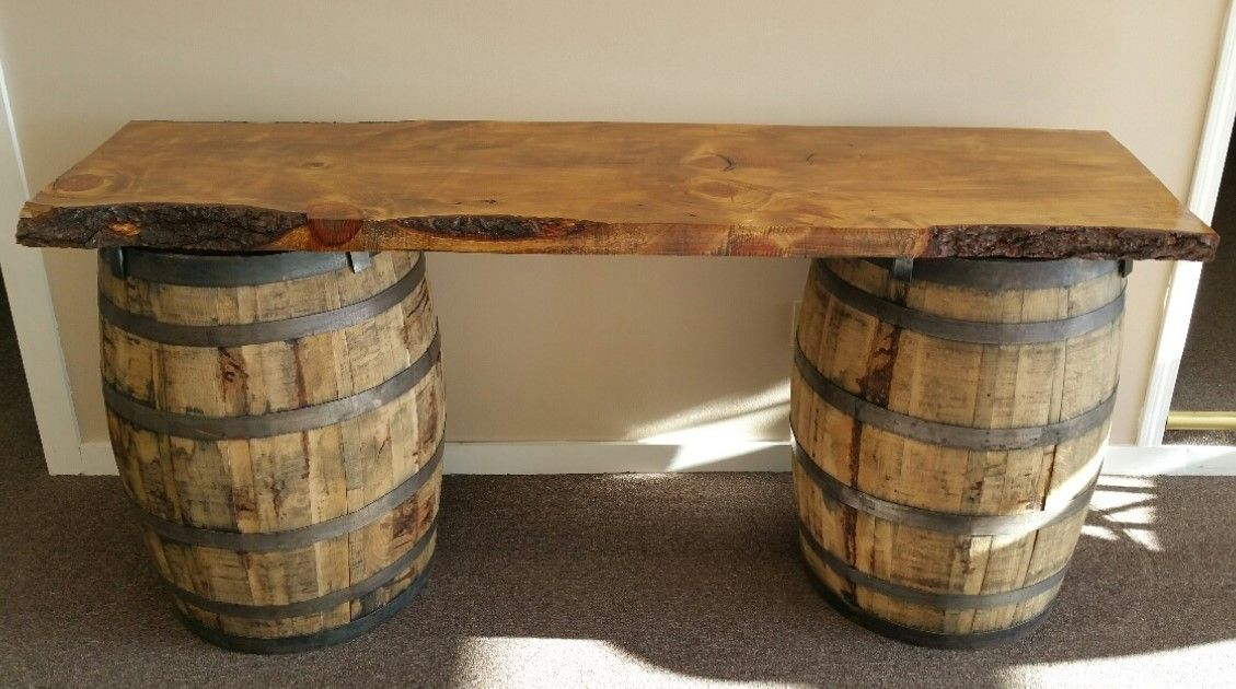 Wine barrel table for cigar bar will be tucked under the for How to make a wine barrel bar