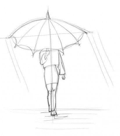 Wenn Sie Ein Madchen Mit Regenschirm Zeichnen Wollen Dann Schauen