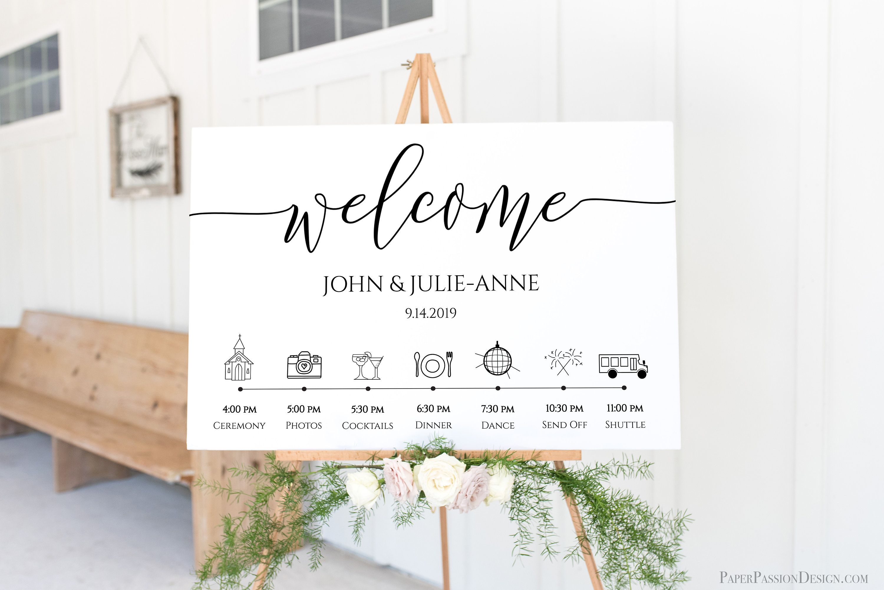 Wedding Welcome Timeline Sign Minimalist Printable Timeline Etsy In 2020 Wedding Day Schedule Wedding Welcome Event Card