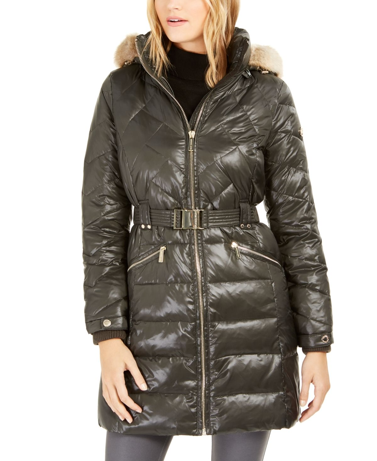 Michael Kors Hooded Down Puffer Coat With FauxFur Trim