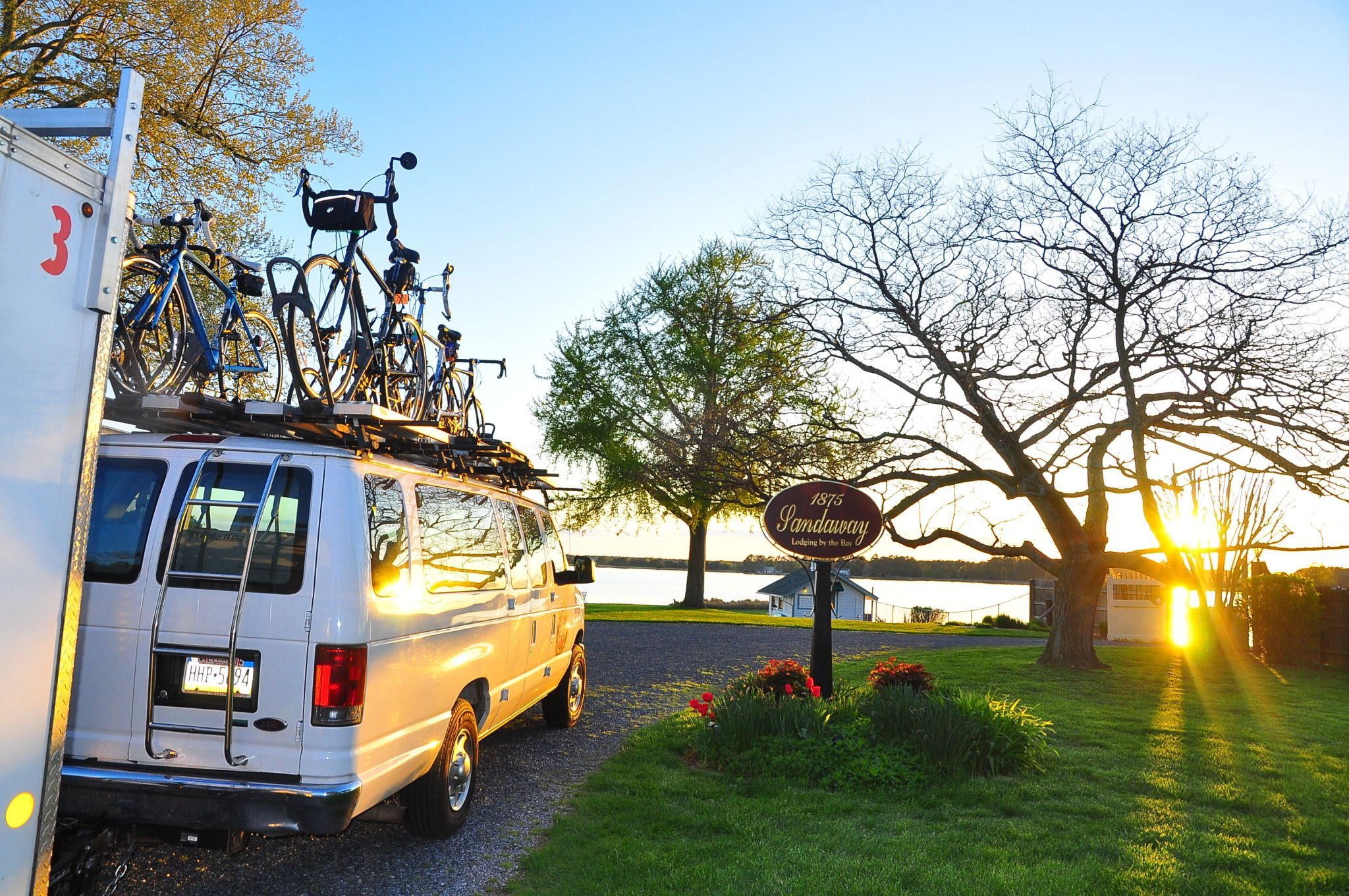Our bike tour rig outside the Sandaway Lodge on the Chesapeake Bay Bike Tour, waiting for guests to finish their breakfast!
