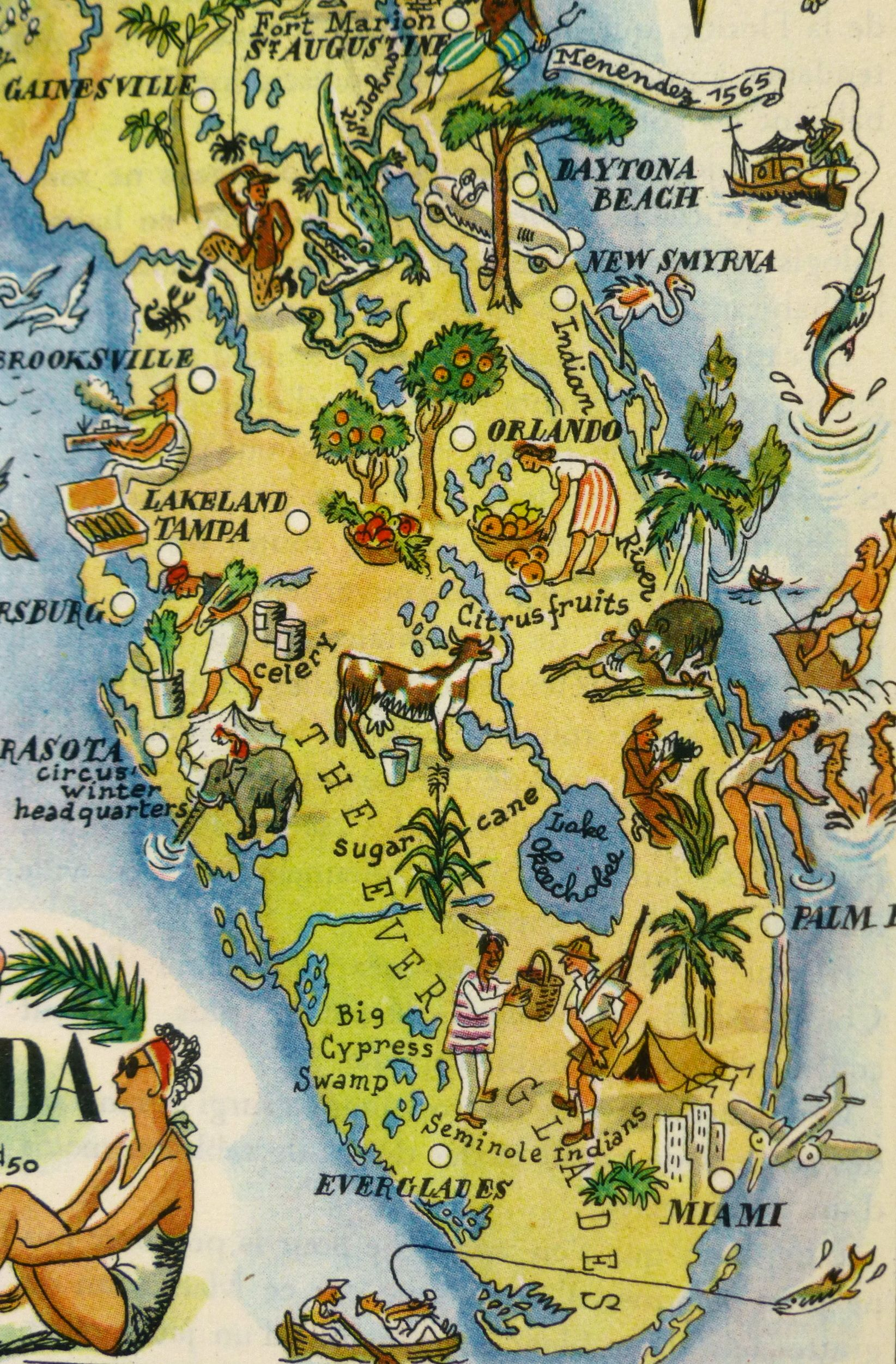 Detail Map Of Florida.Florida Pictorial Map 1946 In 2019 Florida Road Trip Pictorial