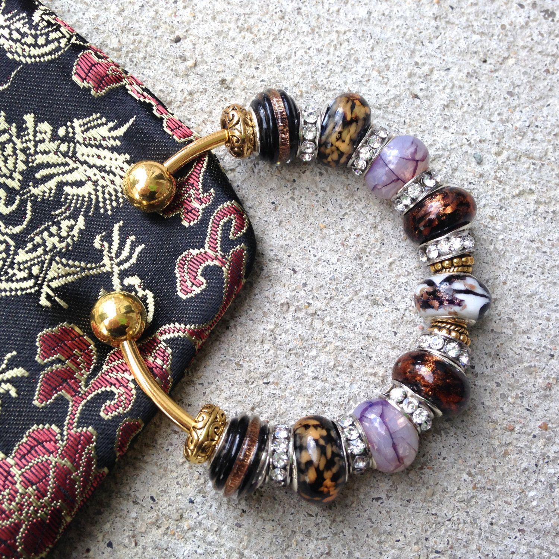 Chunky Bracelet, OOAK, Charm Bracelet, Gold Bangle, Jewelry Gift, Bridesmaid Gift, Murano Glass, Beaded Bracelet, Cuff Bracelet