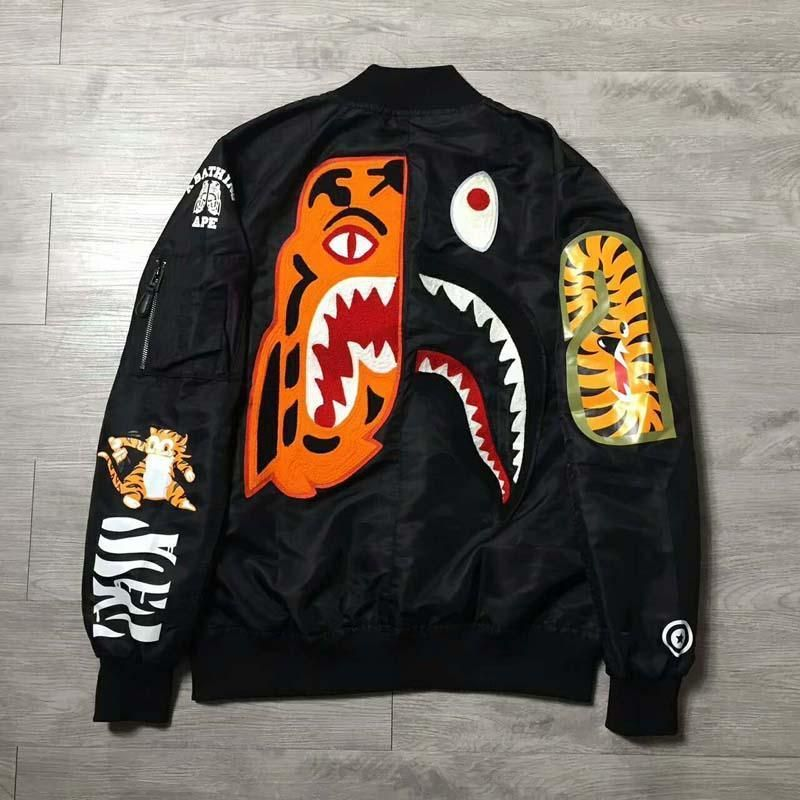 56df8b0cb 2017 Men's Japan Shark Tiger Pattern Zipper A Bathing Ape Coat Bape ...