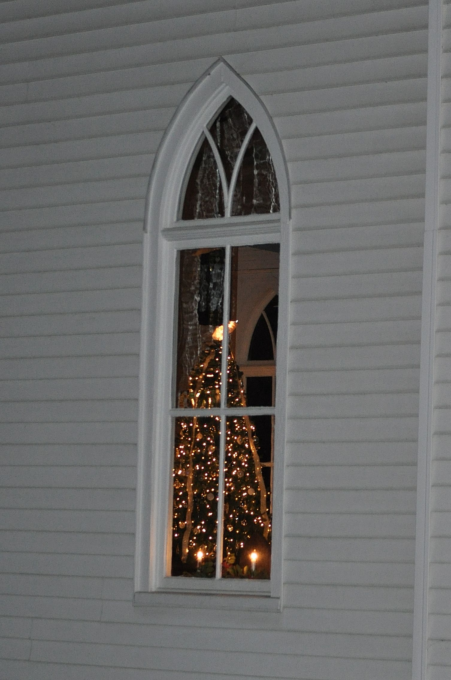 Christmas Tree Inside Old Country Church, Unionville, Nc