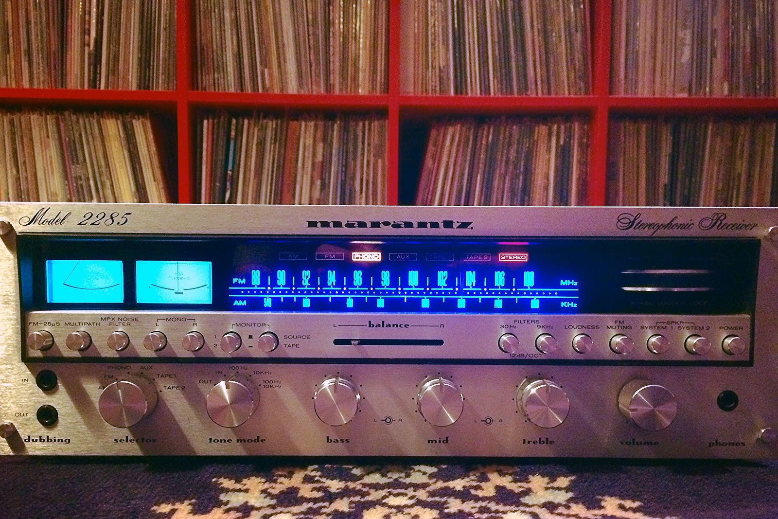 Old meets new. | The familiar blue glow of 1978 Marantz, sea… | Flickr