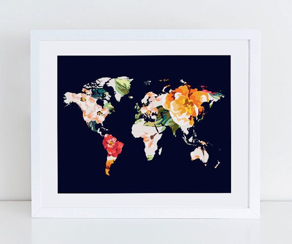 Floral world map art print instant download printable decor floral world map art print instant download printable decor digital art print 8x10 16x20 11x14 world map floral wall decor decorating gumiabroncs Choice Image