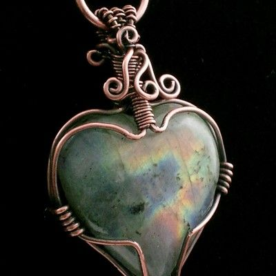 Heart Labradorite Wire Wrapped Pendant Necklace