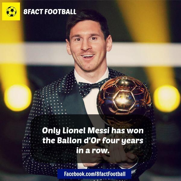 Only Lionel Messi Has Won The Ballon Du0027Or Four Years In A Row (