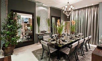 Sala de Jantar em tons de cinza e preto classico