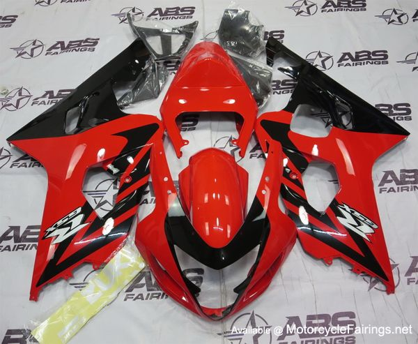 Red & Black GSXR 600/750 (04-05) ABS Fairing Set that is going on a MotorcycleFairings.net customers gixxer