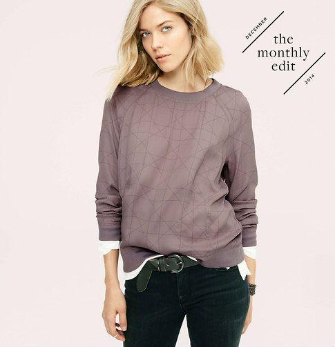 Lou & Grey Gridline Sportif Sweatshirt | Loft