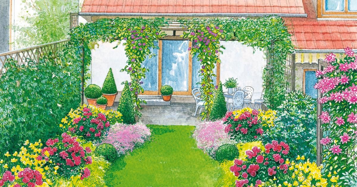 ein reihenhausgarten aus der reihe schmaler garten aufteilung und rasen. Black Bedroom Furniture Sets. Home Design Ideas