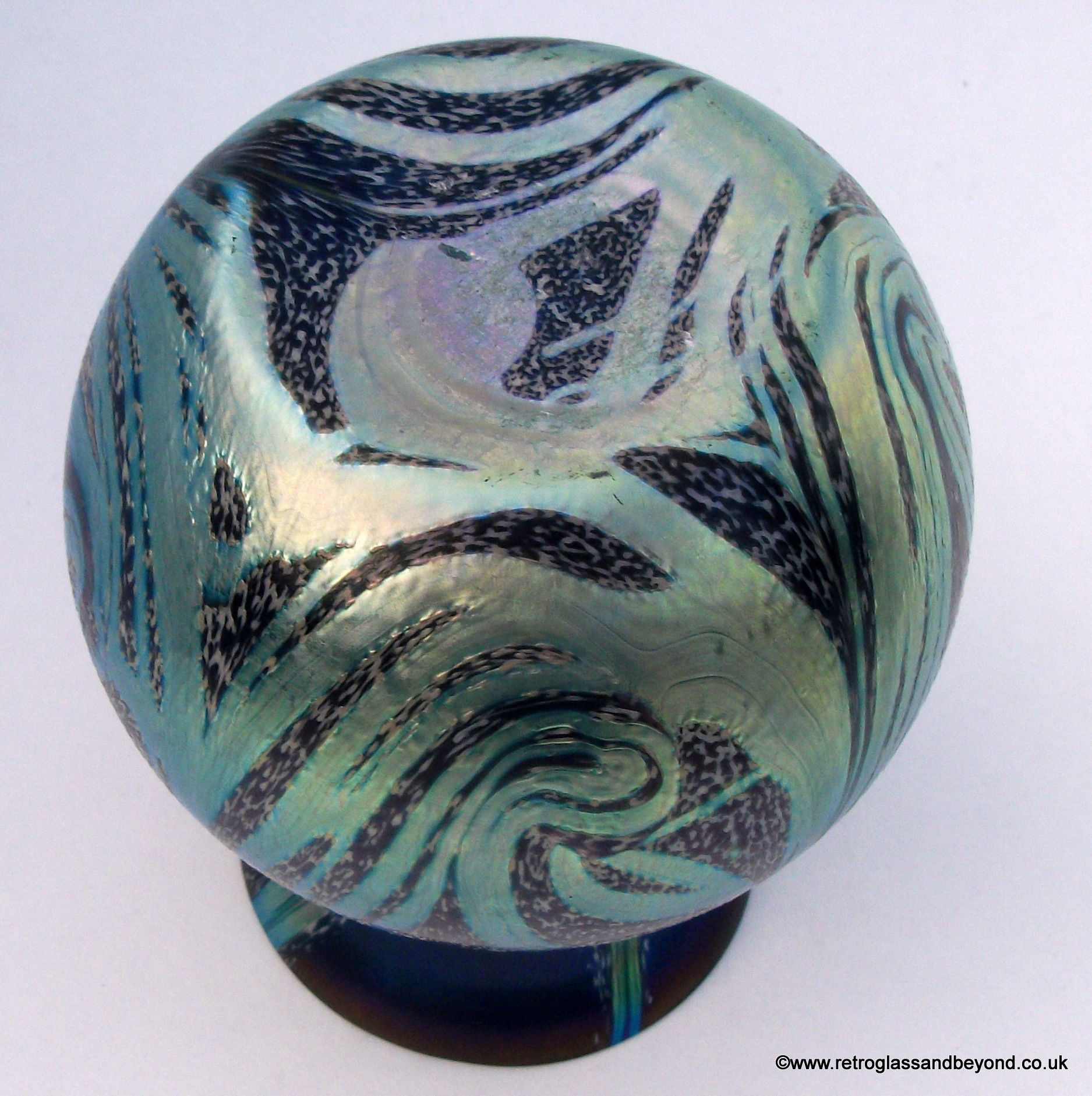 Emerald Art Glass okra studio range iridescent amethyst & emerald art glass vase