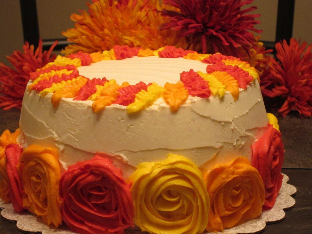 fallcakedecoratingideas cake with strawberry filling I