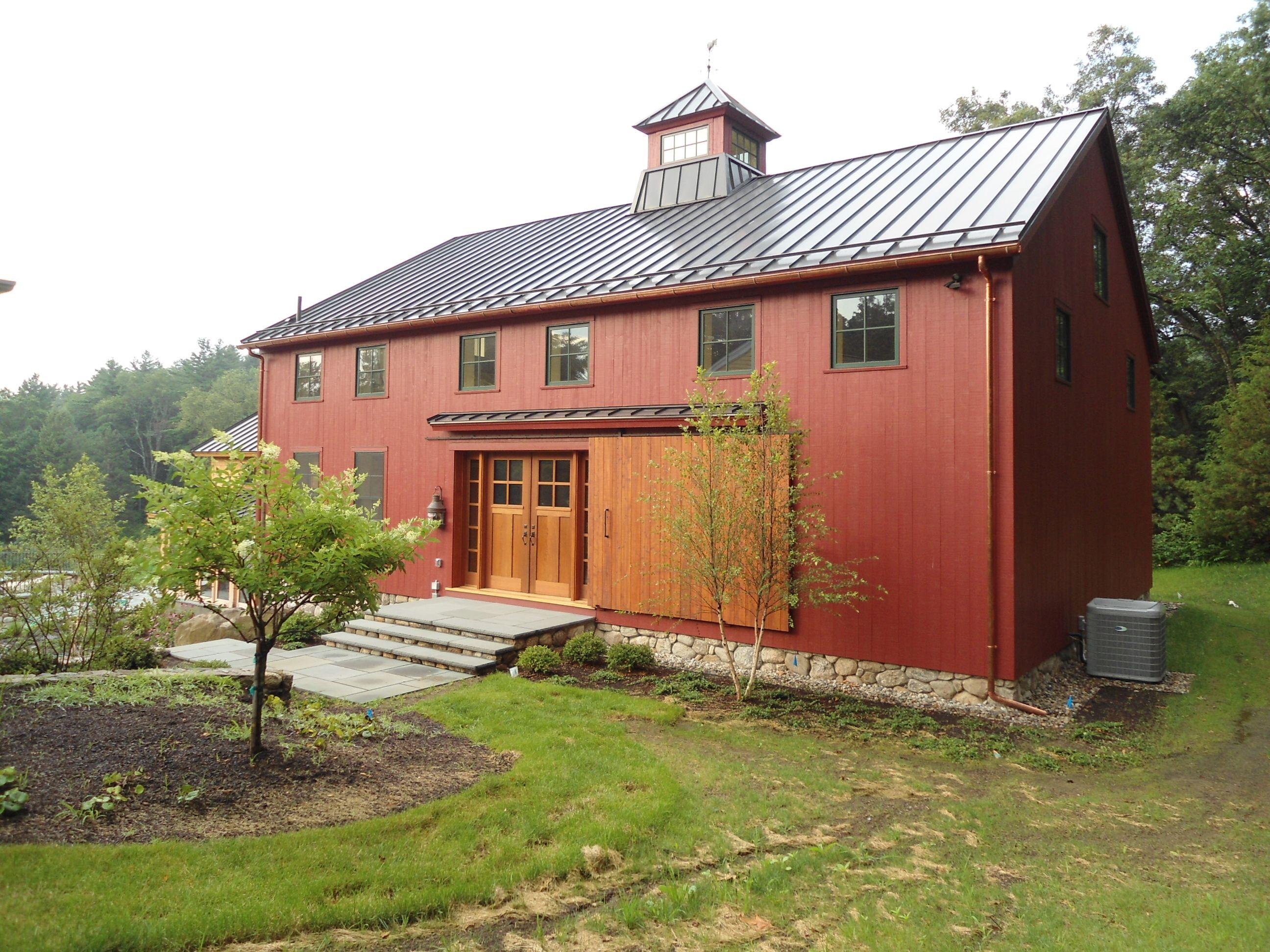 Timberframe family entertainment barn with half basketball court ...