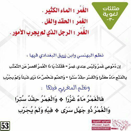 مثلثات لغوية الغمر Learning Arabic Learning Arabi