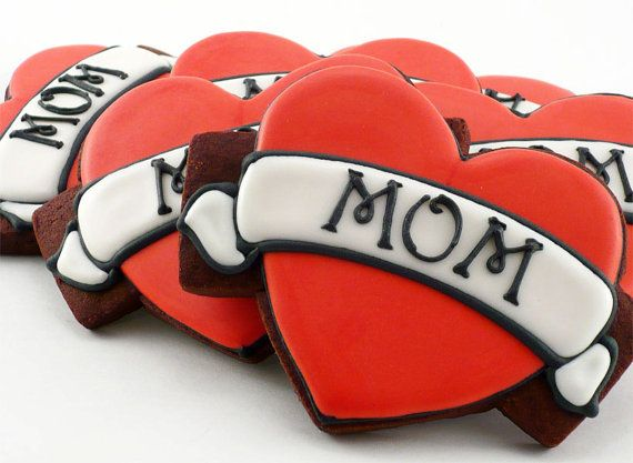 MOM tattoo cookies.    From http://www.etsy.com/listing/95455071/decorated-cookies-mothers-day-heart