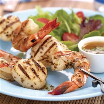 Anise-Orange Shrimp and Scallop Skewers: The flavor of anise elevates grilled shrimp and scallops to a new level. Plus, this recipe is super easy! #gogourmet