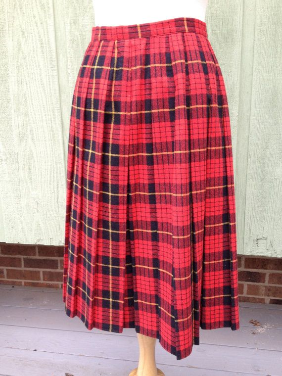 e941d4600 1980s Vintage Women's Red Pleated Plaid by HiddenTreasureHunter, $20.00