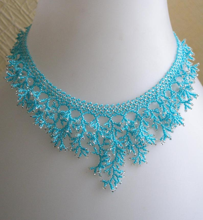 Pattern Seed Necklace Detailed Instructions Beading Netting Stitch Coral Necklace Beading