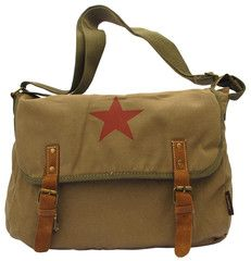 Red Star Vintage Laptop Canvas Messenger Bag