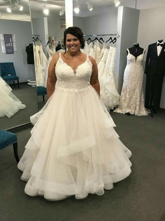 Plus Size A Line White Tulle Wedding Dress Lace Appliques Women Bridal Gowns Plus Wedding Dresses Wedding Dress Tulle Lace Plus Size Wedding Gowns